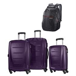 Winfield 2 Fashion Hardside 3 Piece Spinner Set - Purple w/ Business Backpack