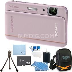 "Cyber-shot DSC-TX66 18.2 MP CMOS Camera 5X Zoom 3.3"" OLED (Pink) 4 GB Memory Kit"