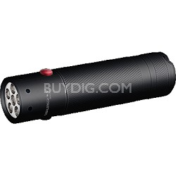880040 V2 Dual Color LED Flashlight with Red and White Light Function - Black