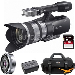 NEX-VG10 Interchangeable Lens Camcorder w/ 18-200mm and 16mm f2.8 Lens and More