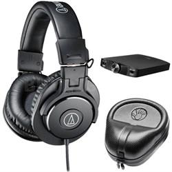 ATH-M30x Professional Headphones w/ Slappa Case & FiiO A3 Amp Bundle