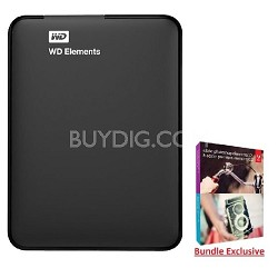 2 TB WD Elements Portable USB 3.0 Hard Drive Storage + Adobe Elements Premier 12