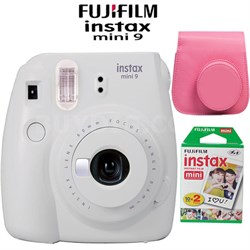 Instax Mini 9 Instant Camera Smokey White Bundle w/ Pink Case & Twin Pack Film