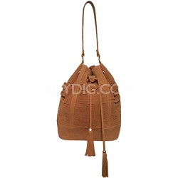 Suede Cage Bucket Bag with Pull String Tassels (Cognac) - 3050-CGN