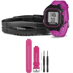 Forerunner 25 GPS Fitness Watch w/ Heart Rate Monitor Small Purple - Pink Bundle