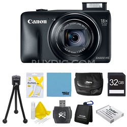 PowerShot SX600 HS 16.1MP 18x Zoom 3-inch LCD - Black 32gb Super Bundle