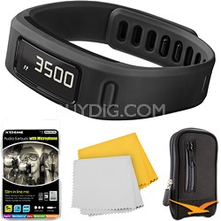 Vivofit Fitness Band Bundle w/ Heart Rate Monitor (Black) Plus Accessory Bundle