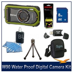 Optio W90 Water Proof Compact Digital Camera 8GB Green Bundle