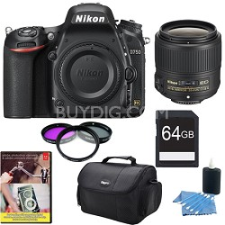 D750 DSLR 24.3MP HD 1080p FX-Format Digital Camera And 35 1.8 G ED Lens 64GB Kit