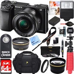 Alpha a6000 24.3MP Mirrorless Camera 16-50mm Power Zoom Lens 64GB Accessory Kit
