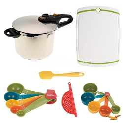 Duo 6 Qt. Stainless Steel Pressure Cooker, Board, and Measuring Sets Bundle