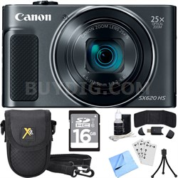 PowerShot SX620 HS 20.2MP Digital Camera Black w/ Essential Accessory Bundle