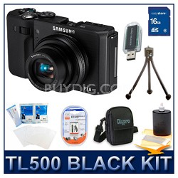 TL500 Digital Camera Black Kit w/ Memory Card, Battery, Case, Mini Tripod