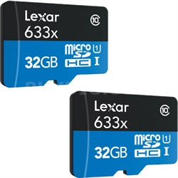 2-Pack of microSDHC UHS-I 633X 32GB Memory Cards (up to 95MB/s)(64GB Total)