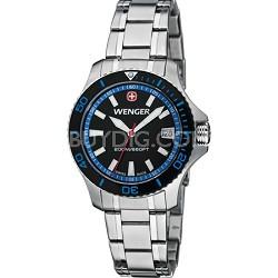 Ladies' Sea Force Swiss Watch - Black and Blue Dial/Stainless Steel Bracelet