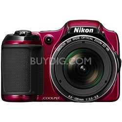 COOLPIX L820 16 MP 30x Zoom Red Digital Camera - Factory Refurbished