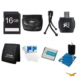 16GB SD Card, Case, Battery, Card Reader, Card Wallet, Mini Tripod, and More