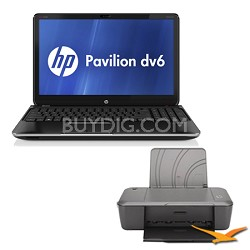 """Pavilion 15.6"""" dv6-7010us Notebook PC - AMD Quad-Core A8-4500M - Printer Bundle"""