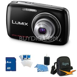 Lumix DMC-S1 12MP Compact Black Digital Camera w/ 720p HD Video 4GB Bundle