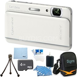 "Cyber-shot DSC-TX66 18.2 MP CMOS Camera 5X Zoom 3.3"" OLED (White) 4GB Memory Kit"