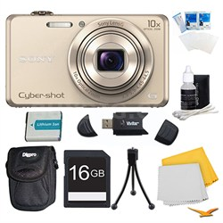 DSC-WX220 Gold Digital Camera, 16GB Card, Case, and Battery Bundle