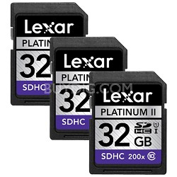 32GB Platinum II SD/SDHC 200x Memory Card 3-Pack (LSD32GBSBNA200)
