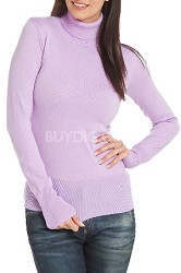 Turtleneck Sweater for Women in Lavender - Size Med