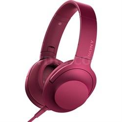 MDR100AAP h.Ear on Premium Hi-Res On-Ear Stereo Headphones - Bordeaux Pink