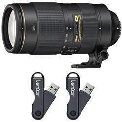 AF-S NIKKOR 80-400mm f.4.5-5.6G ED VR Lens 64GB USB Flash Drive 2-Pack Bundle