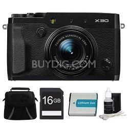 X30 Black Compact Digital Camera 16GB Bundle