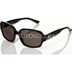 Black Frame with Grey Lens and Black/White Checkered Detail Sunglasses
