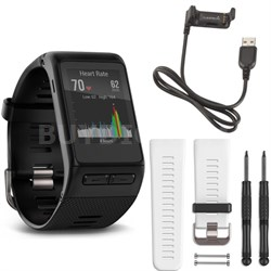 vivoactive HR GPS Smartwatch - X-Large Fit (Black) White Band Deluxe Bundle