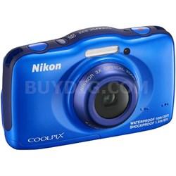 COOLPIX S32 13.2MP Waterproof Shockproof Digital Camera (Blue) Refurbished