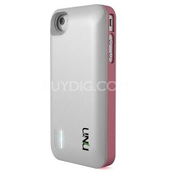 Exera Modular Detachable Battery Case for iPhone 4S 4 - White/Pink