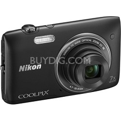 COOLPIX S3500 20.1MP Digital Camera with 720p HD Video (Black) Refurbished