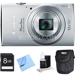PowerShot ELPH 170 IS 20MP 12x Opt Zoom Digital Camera - Silver 8 GB Bundle
