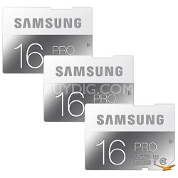 PRO 16GB Class 10 SDHC Memory Card 3-Pack (Up to 90MB/s)