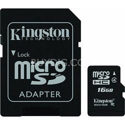 16 GB Class 4 microSDHC Flash Card with SD Adapter