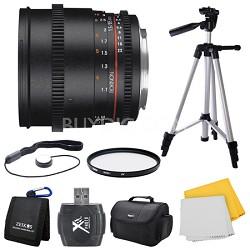 DS 85mm T1.5 Full Frame Cine Lens for Nikon Mount Bundle