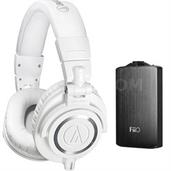 ATH-M50X Professional Studio White Headphones & Fiio A3 Amplifier Bundle Black