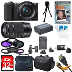 a5100 Mirrorless Camera w/ 16-50mm and SEL 55-210 Lenses 32GB Black Bundle
