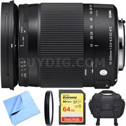 18-300mm F3.5-6.3 DC Macro OS HSM Lens Contemporary for Sigma DSLR Camera Bundle