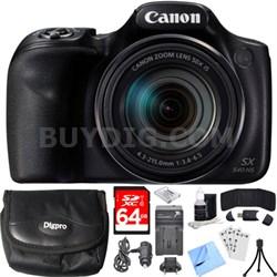 PowerShot SX540 HS 20.3MP Digital Camera w/ 50x Optical Zoom 64GB Card Bundle