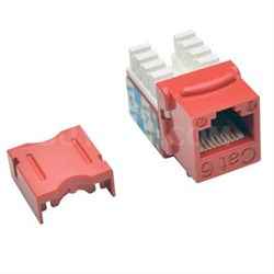 Cat6/Cat5e 110 Style Punch Down Keystone Jack in Red - N238-025-RD