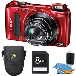 Finepix F660EXR 16.0 MP CMOS 1080P HD Digital Camera (Red) 8 GB Memory Bundle