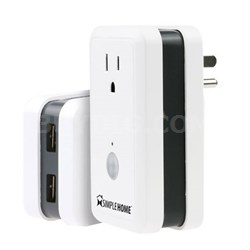 Wi-Fi Smart Controlled Wall Outlet with 2 USB and Energy Monitor - XWS7-1002-WHT