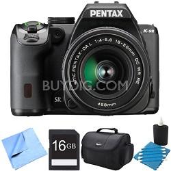 K-S2 20MP DSLR Camera Kit with 18-50mm WR Lens Black 16GB Bundle