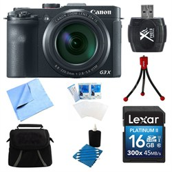 Powershot G3 X Digital Compact Camera 16GB Card Bundle