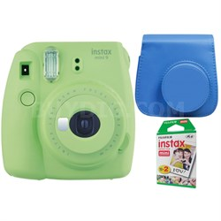 Instax Mini 9 Instant Camera - Lime Green w/ Case + 2-Pack Instant Film