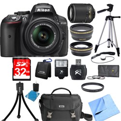 D5300 DX-Format Digital SLR Black with 18-55mm + 55-200mm VR II Lens Bundle